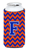Letter F Chevron Orange and Blue Tall Boy Beverage Insulator Hugger CJ1044-FTBC by Caroline's Treasures