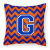 Letter G Chevron Orange and Blue Fabric Decorative Pillow CJ1044-GPW1414 - the-store.com