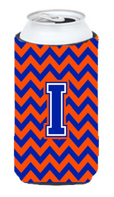 Letter I Chevron Orange and Blue Tall Boy Beverage Insulator Hugger CJ1044-ITBC by Caroline's Treasures
