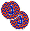 Letter J Chevron Orange and Blue Set of 2 Cup Holder Car Coasters CJ1044-JCARC by Caroline's Treasures