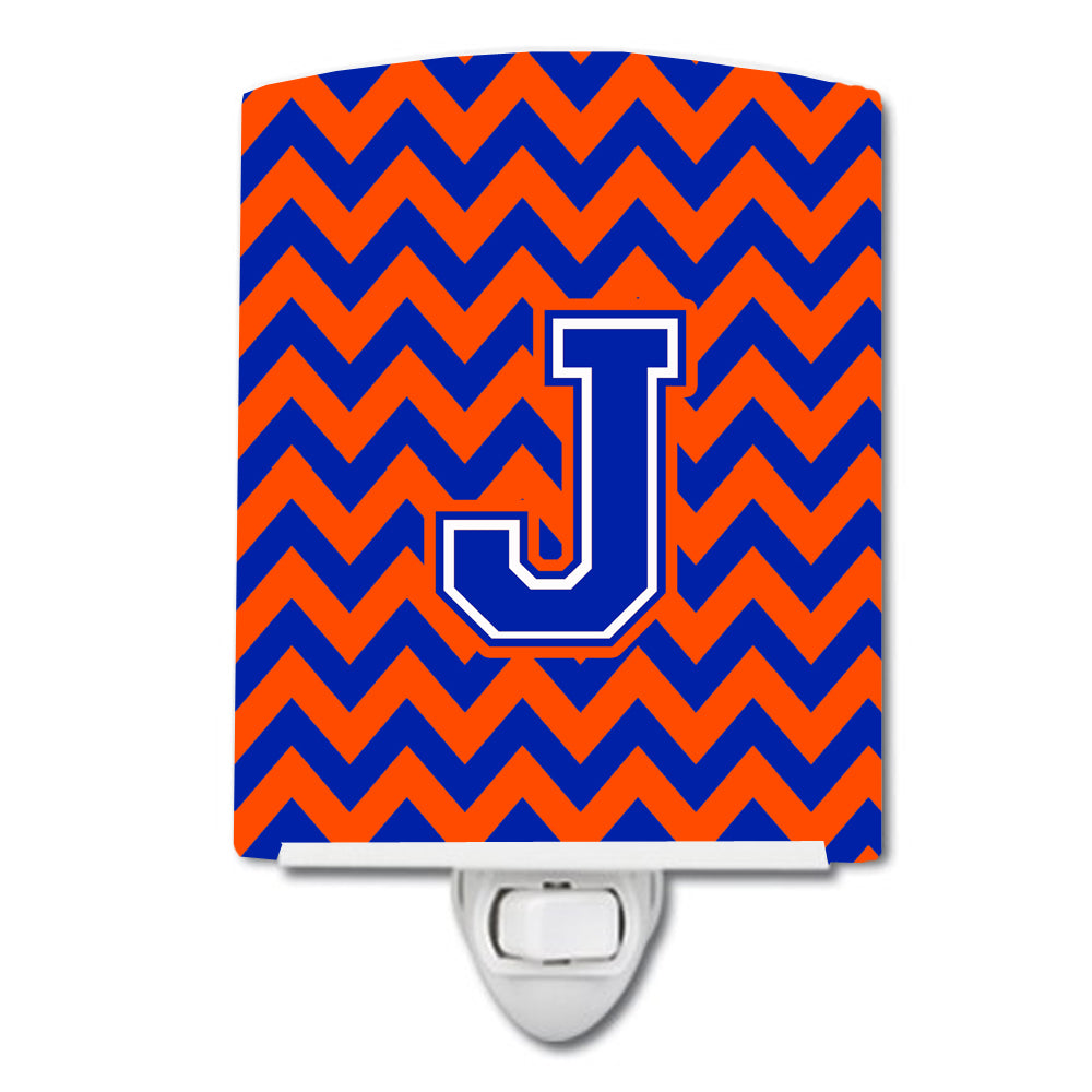 Letter J Chevron Orange and Blue Ceramic Night Light CJ1044-JCNL by Caroline's Treasures