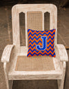 Letter J Chevron Orange and Blue Fabric Decorative Pillow CJ1044-JPW1414