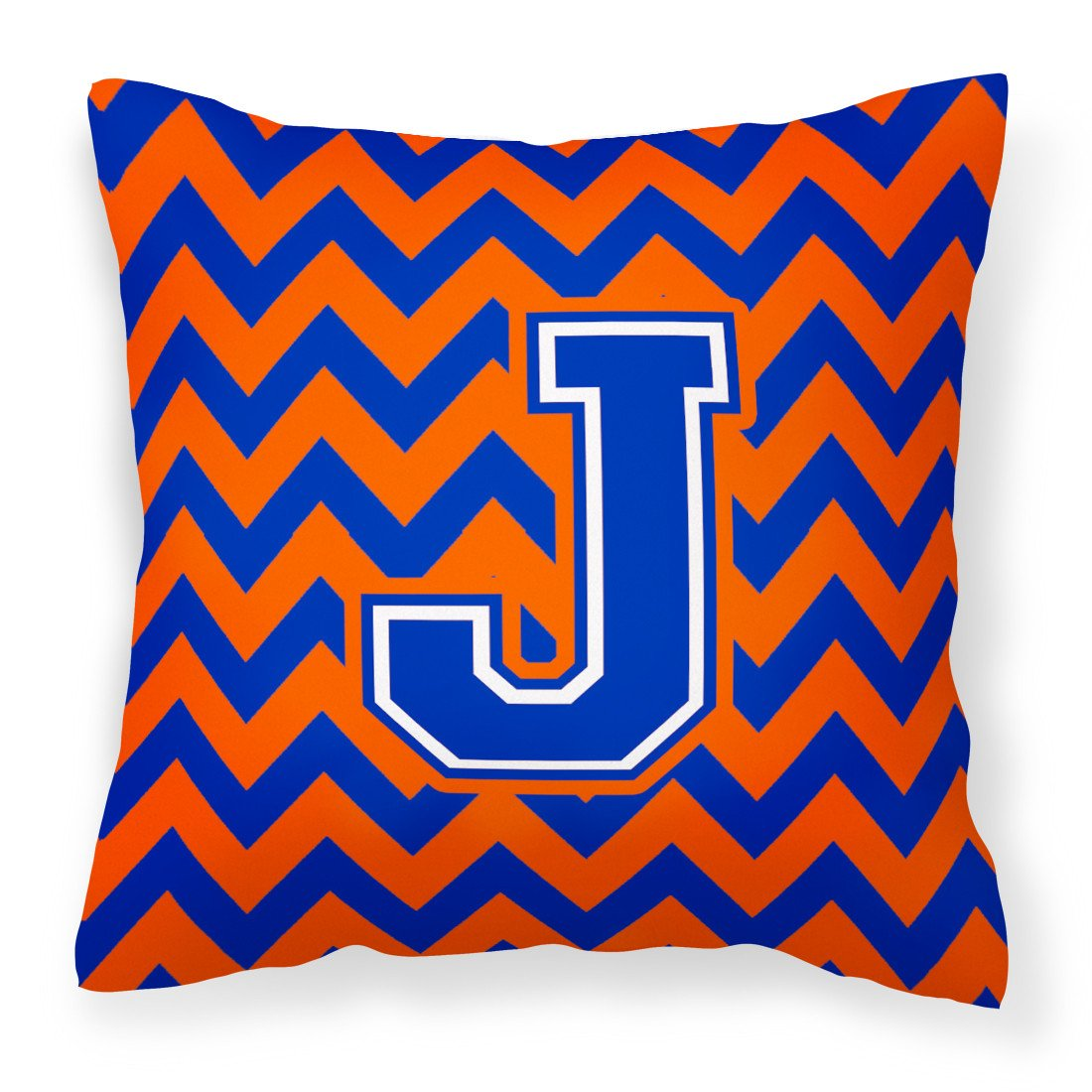 Letter J Chevron Orange and Blue Fabric Decorative Pillow CJ1044-JPW1414 - the-store.com