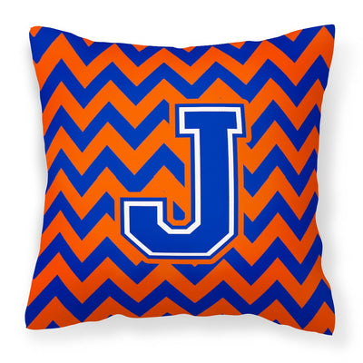 Buy this Letter J Chevron Orange and Blue Fabric Decorative Pillow CJ1044-JPW1414