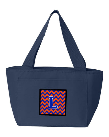 Buy this Letter L Chevron Orange and Blue Lunch Bag CJ1044-LNA-8808