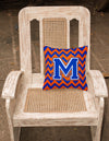 Letter M Chevron Orange and Blue Fabric Decorative Pillow CJ1044-MPW1414 - the-store.com