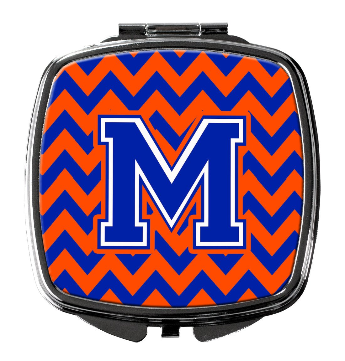 Letter M Chevron Orange and Blue Compact Mirror CJ1044-MSCM by Caroline's Treasures