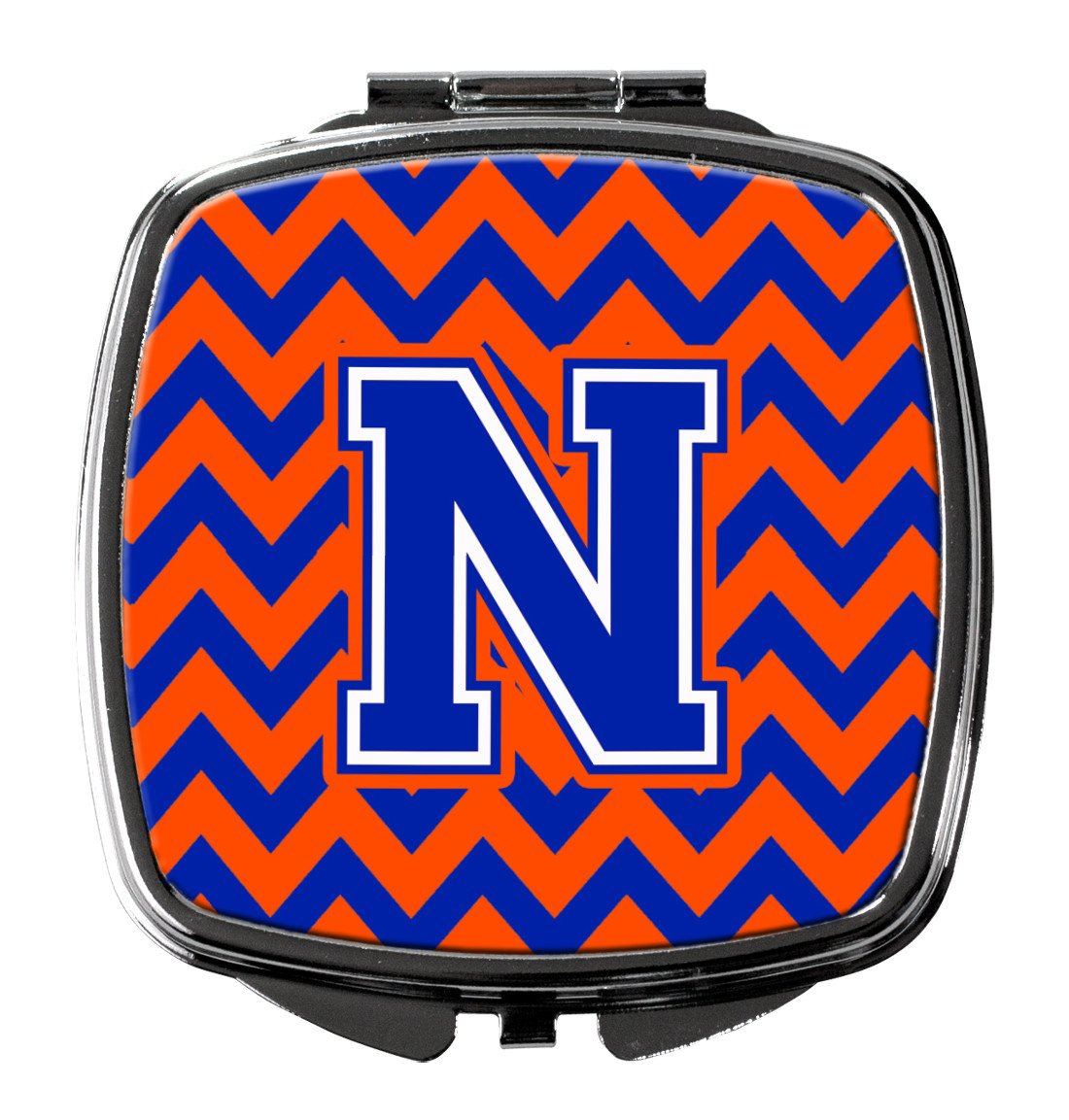 Letter N Chevron Orange and Blue Compact Mirror CJ1044-NSCM by Caroline's Treasures