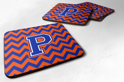 Buy this Letter P Chevron Orange and Blue Foam Coaster Set of 4 CJ1044-PFC