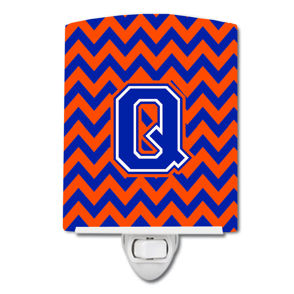 Buy this Letter Q Chevron Orange and Blue Ceramic Night Light CJ1044-QCNL