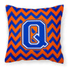 Letter Q Chevron Orange and Blue Fabric Decorative Pillow CJ1044-QPW1414 - the-store.com