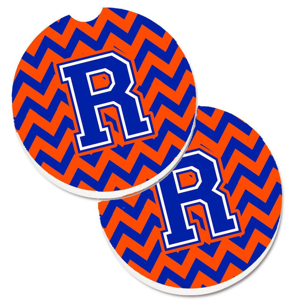 Letter R Chevron Orange and Blue Set of 2 Cup Holder Car Coasters CJ1044-RCARC by Caroline's Treasures