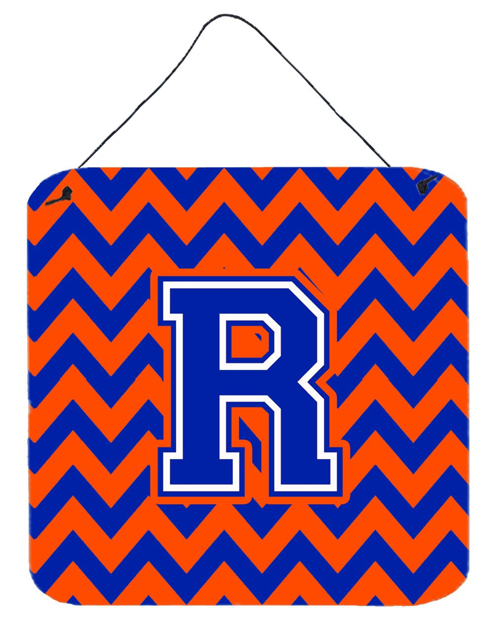 Letter R Chevron Orange and Blue Wall or Door Hanging Prints CJ1044-RDS66 by Caroline's Treasures