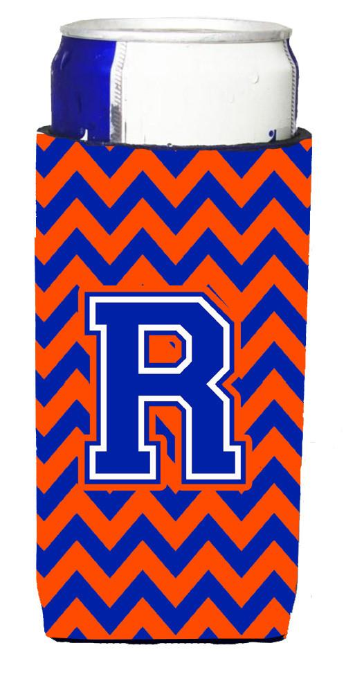 Letter R Chevron Orange and Blue Ultra Beverage Insulators for slim cans CJ1044-RMUK by Caroline's Treasures