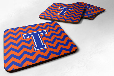 Buy this Letter T Chevron Orange and Blue Foam Coaster Set of 4 CJ1044-TFC