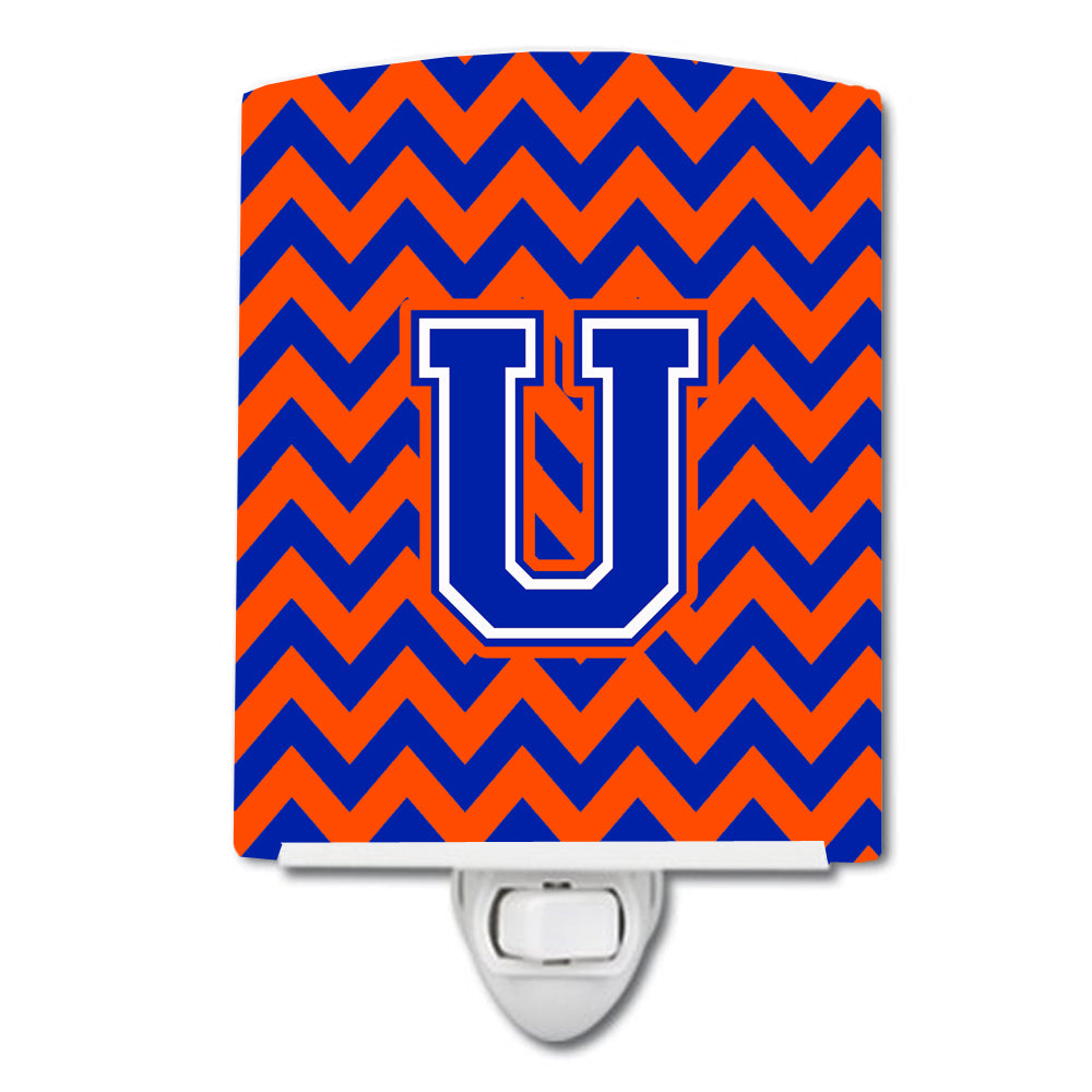 Buy this Letter U Chevron Orange and Blue Ceramic Night Light CJ1044-UCNL