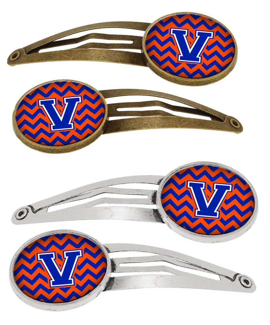 Letter V Chevron Orange and Blue Set of 4 Barrettes Hair Clips CJ1044-VHCS4 by Caroline's Treasures