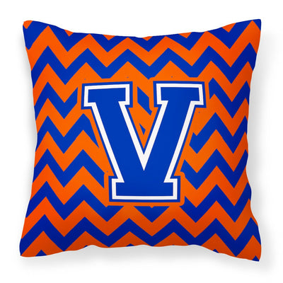 Buy this Letter V Chevron Orange and Blue Fabric Decorative Pillow CJ1044-VPW1414