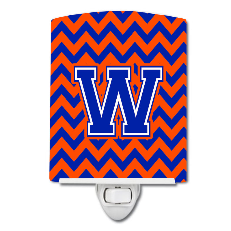 Buy this Letter W Chevron Orange and Blue Ceramic Night Light CJ1044-WCNL