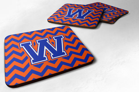 Buy this Letter W Chevron Orange and Blue Foam Coaster Set of 4 CJ1044-WFC