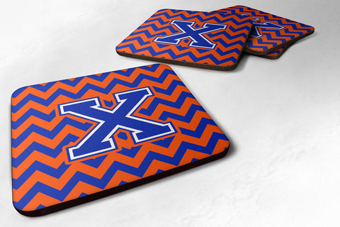 Buy this Letter X Chevron Orange and Blue Foam Coaster Set of 4 CJ1044-XFC