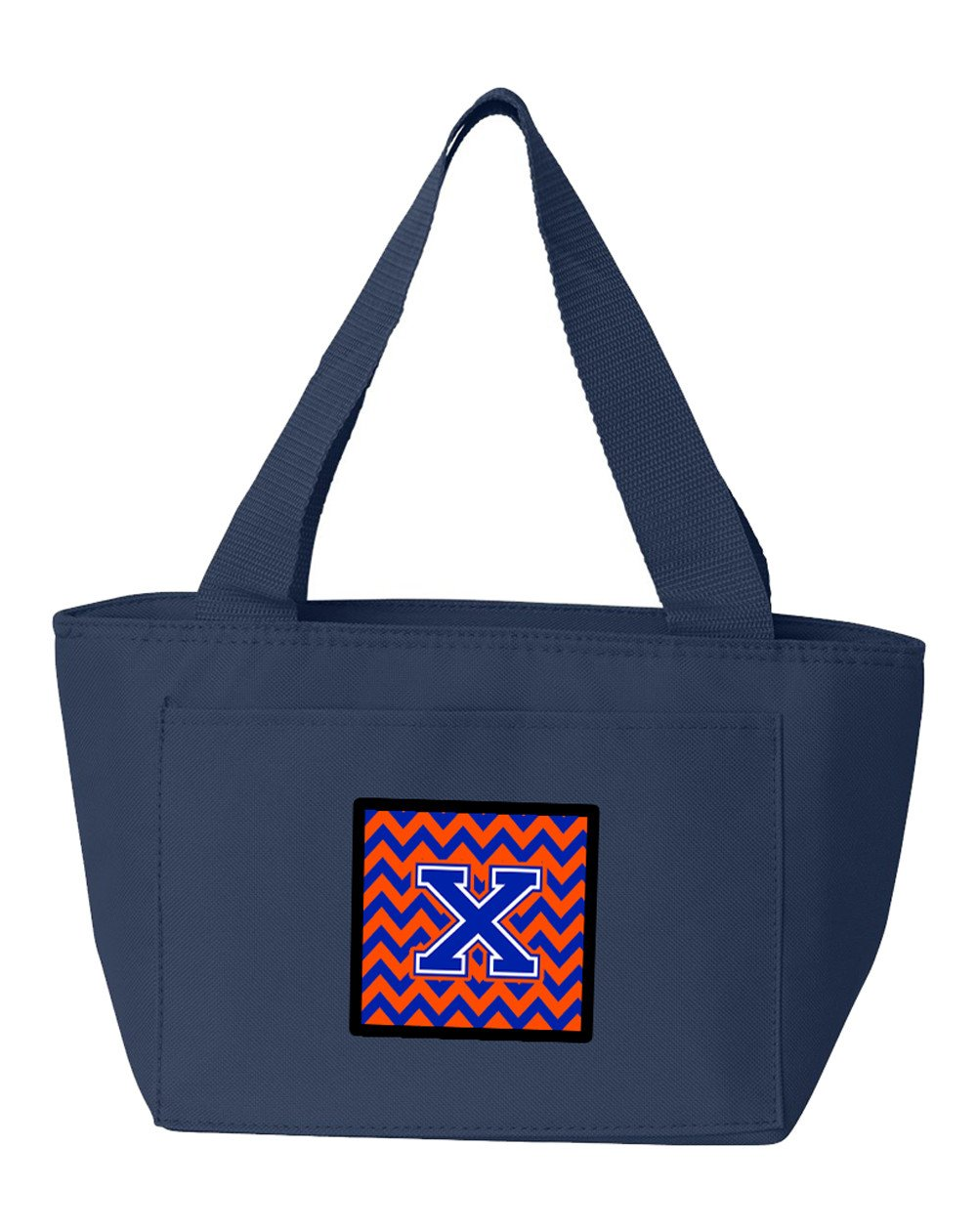 Letter X Chevron Orange and Blue Lunch Bag CJ1044-XNA-8808 by Caroline's Treasures