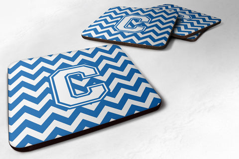 Buy this Letter C Chevron Blue and White Foam Coaster Set of 4 CJ1045-CFC