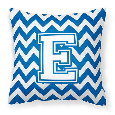 Buy this Letter E Chevron Blue and White Fabric Decorative Pillow CJ1045-EPW1414