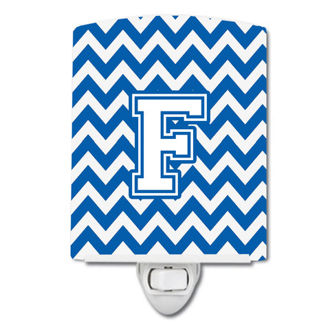 Buy this Letter F Chevron Blue and White Ceramic Night Light CJ1045-FCNL