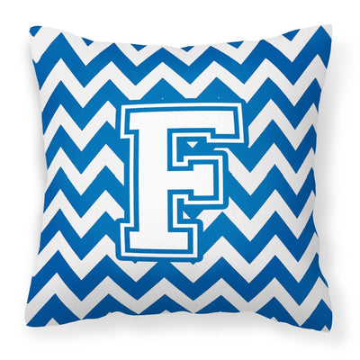 Buy this Letter F Chevron Blue and White Fabric Decorative Pillow CJ1045-FPW1414