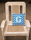 Letter G Chevron Blue and White Fabric Decorative Pillow CJ1045-GPW1414 by Caroline's Treasures