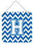 Letter H Chevron Blue and White Wall or Door Hanging Prints CJ1045-HDS66 by Caroline's Treasures