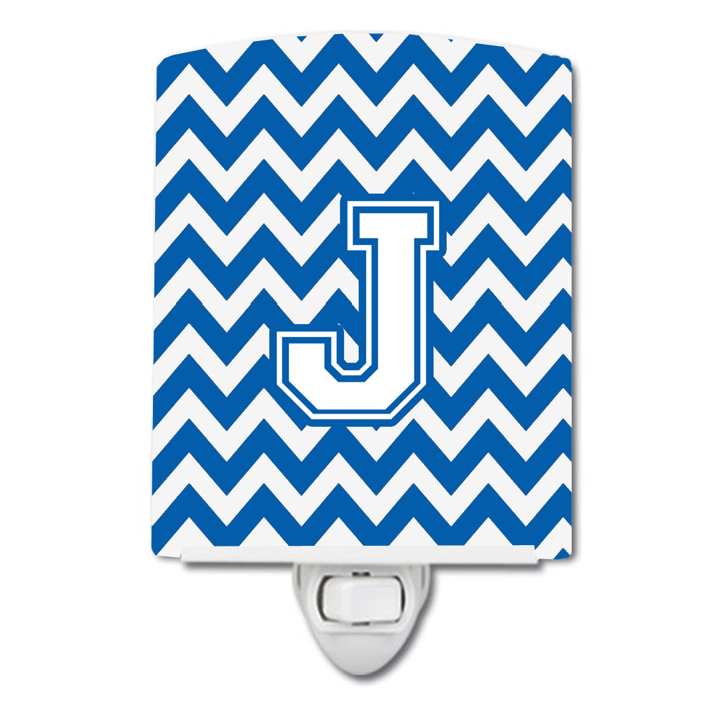 Letter J Chevron Blue and White Ceramic Night Light CJ1045-JCNL by Caroline's Treasures