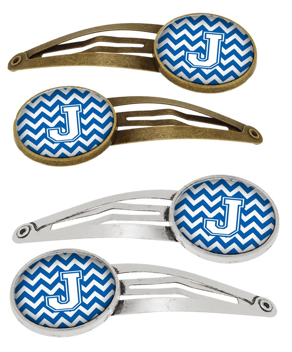 Letter J Chevron Blue and White Set of 4 Barrettes Hair Clips CJ1045-JHCS4 by Caroline's Treasures