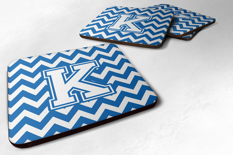 Buy this Letter K Chevron Blue and White Foam Coaster Set of 4 CJ1045-KFC