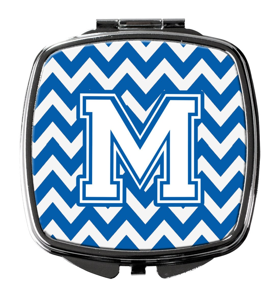 Letter M Chevron Blue and White Compact Mirror CJ1045-MSCM by Caroline's Treasures