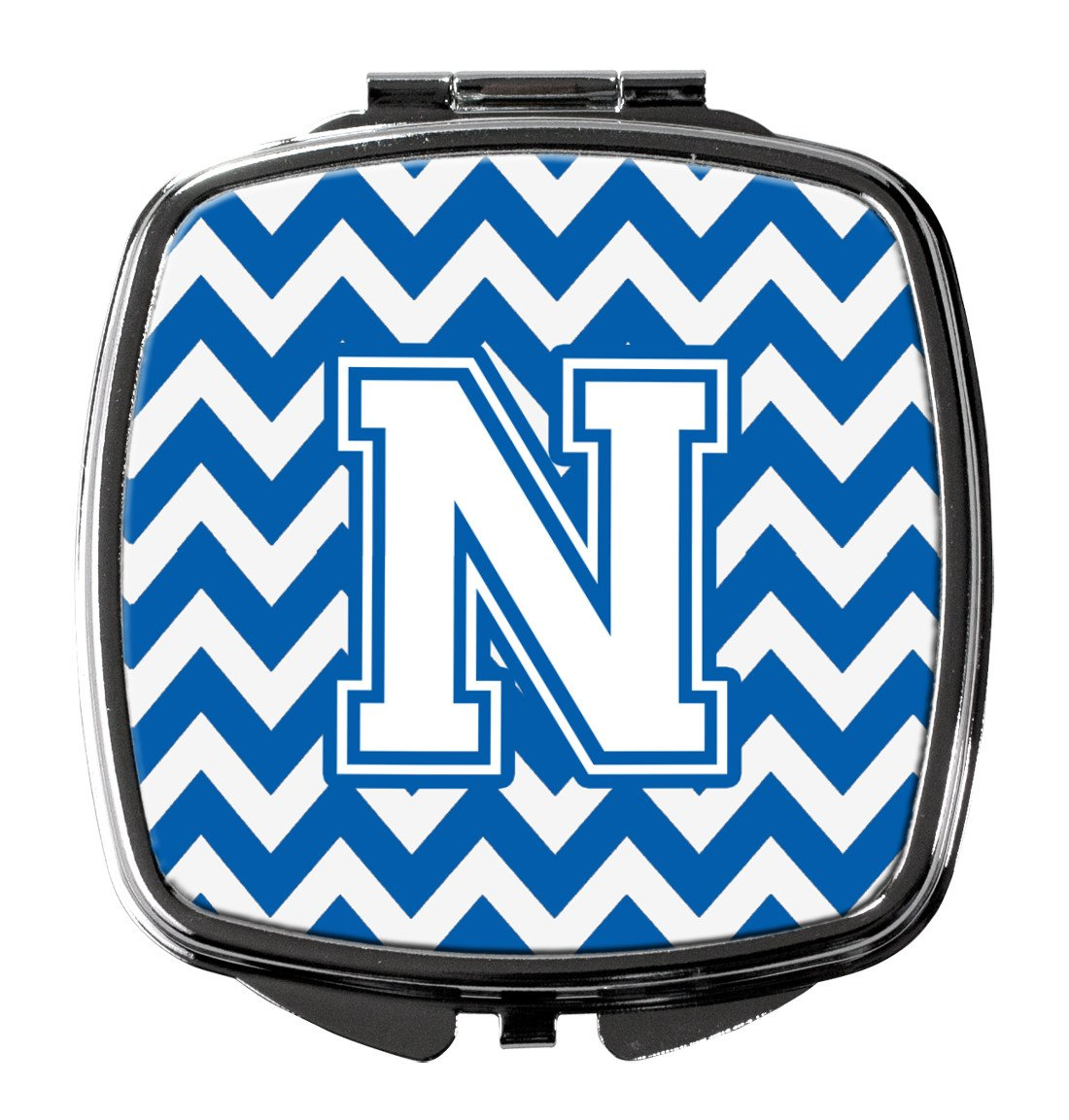 Letter N Chevron Blue and White Compact Mirror CJ1045-NSCM by Caroline's Treasures