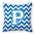 Letter P Chevron Blue and White Fabric Decorative Pillow CJ1045-PPW1414 by Caroline's Treasures