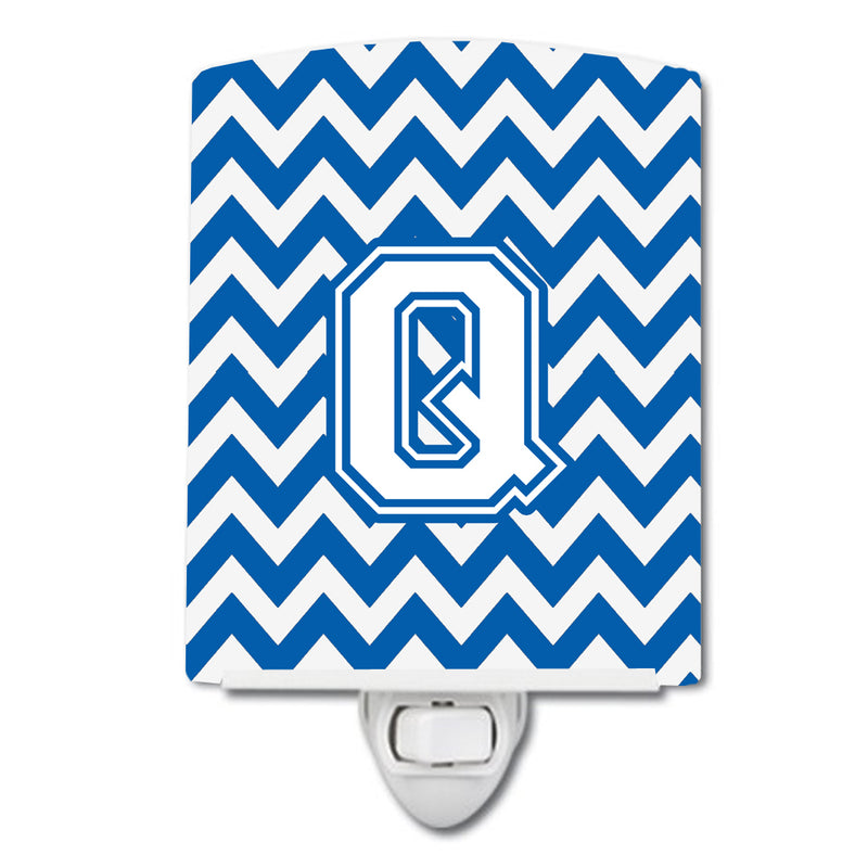 Buy this Letter Q Chevron Blue and White Ceramic Night Light CJ1045-QCNL