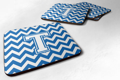Buy this Letter T Chevron Blue and White Foam Coaster Set of 4 CJ1045-TFC