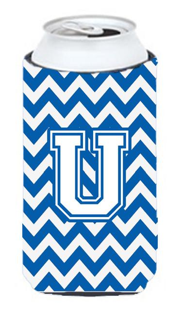 Buy this Letter U Chevron Blue and White Tall Boy Beverage Insulator Hugger CJ1045-UTBC