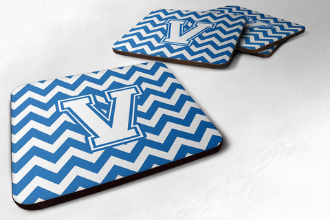 Buy this Letter V Chevron Blue and White Foam Coaster Set of 4 CJ1045-VFC