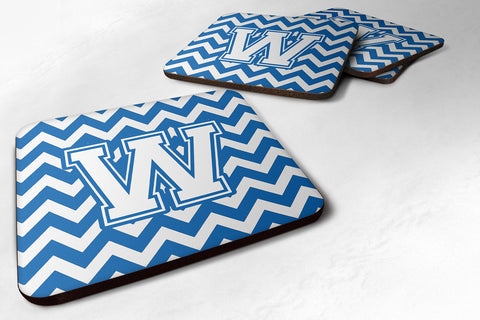 Buy this Letter W Chevron Blue and White Foam Coaster Set of 4 CJ1045-WFC