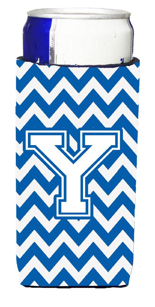 Letter Y Chevron Blue and White Ultra Beverage Insulators for slim cans CJ1045-YMUK by Caroline's Treasures