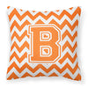 Letter B Chevron Orange and White Fabric Decorative Pillow CJ1046-BPW1414 by Caroline's Treasures