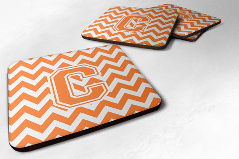Buy this Letter C Chevron Orange and White Foam Coaster Set of 4 CJ1046-CFC