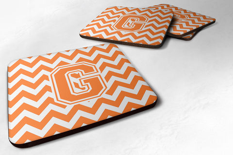 Buy this Letter G Chevron Orange and White Foam Coaster Set of 4 CJ1046-GFC