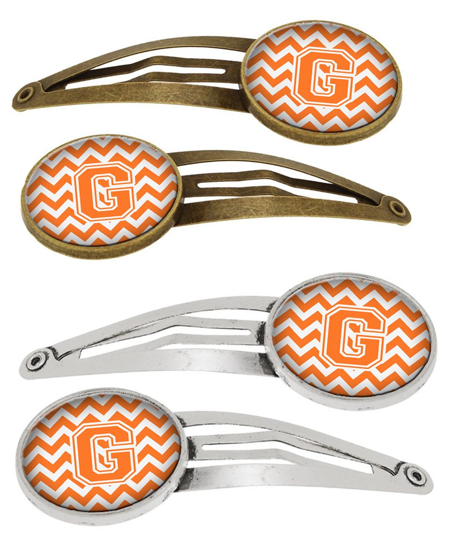 Buy this Letter G Chevron Orange and White Set of 4 Barrettes Hair Clips CJ1046-GHCS4