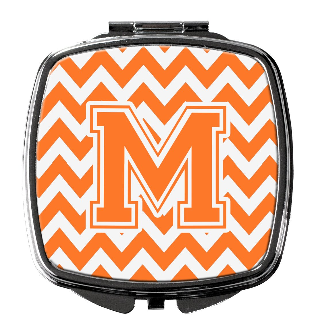 Letter M Chevron Orange and White Compact Mirror CJ1046-MSCM by Caroline's Treasures