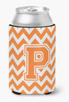 Letter P Chevron Orange and White Can or Bottle Hugger CJ1046-PCC by Caroline's Treasures
